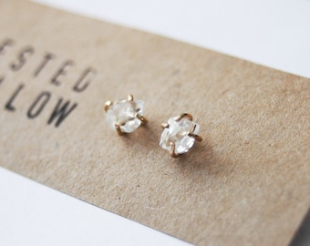 4-5mm Limited Edition Genuine Herkimer Diamond Crystal and Gold stud earrings