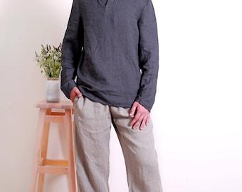 Linen Shirt for Men/  Casual Style Men's Shirt/ Longsleeve Shirt for Men/ Flax Shirt Men's/ Men's shirt in Asphalt-Grey/ Men's Beach Wear