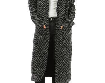 Black Cotton Chevron Long Vest-Coat.
