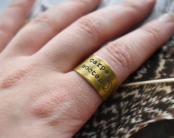 Carpe Noctem Ring- Brass Seize the Night Stamped Ring- Night Owl Latin Adjustable Ring Jewelry- Night Worker- Gothic Halloween Moon Ring