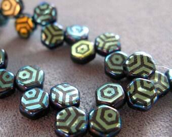 30 Pieces 2 Hole 6mm Honey Comb Jet Laser Print Web AB