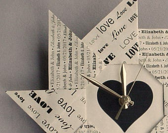 Personalized First Anniversary Gift - Love - Spiral Origami Clock