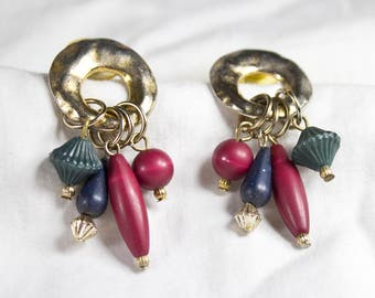 Vintage Unique 3D Retro Beaded Dangle / Post Earrings