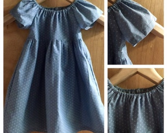 Chambray  Spring/Summer Peasant Dress, size 2t