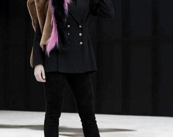 Pink Mustard Faux Fur Stole