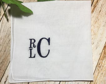Monogrammed Handkerchief - Groomsmen Gift - Bridal Party Gift - Wedding Party Gift - Wedding Hankie - Personalized Handkerchief - Hankie
