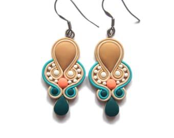 Teal Earrings, Blue Earrings, Turquoise Earrings, Wedding Earrings, Wedding Jewelry, Bridesmaids Earrings, Peach Earrings, Bright Earrings