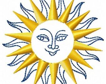 Sun Machine Embroidery Design - Instant Download