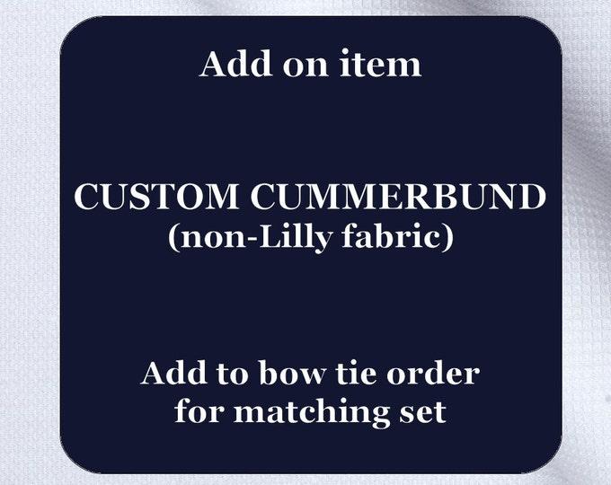 Custom handmade cummerbund (non-Lilly fabric), wedding party menswear, stylish tuxedo accessory, groom formal wear, formal wedding attire