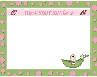 20 Personalized Baby Shower Thank You Cards - Pink Sweet Pea