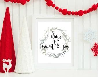 Tidings of comfort and joy christmas printable, Christmas Wreath Decor, Printable Christmas Art, Holiday Home Decor, Holiday Printable