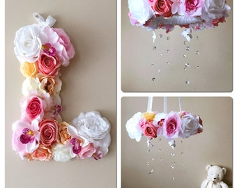 "SALE, Baby mobile and matching 15""/38 cm flower letter with 10% discount, Floral mobile, Floral letter, Nursery decors, Nursery matching dec"