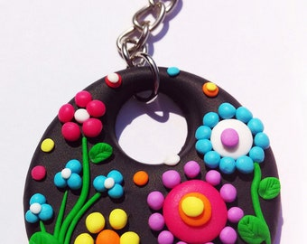 Flowers Keychain - Handmade in Polymer Clay