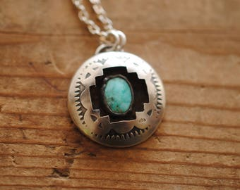 Stamped Turquoise Shadowbox Necklace | Sterling Silver