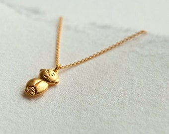 Gold Jizo Pendant, Gold Jizo Necklace, Gold Buddha Jewelry, Buddhist Jewelry, Meditation Jewelry, Spiritual Necklace, Buddha Accessories