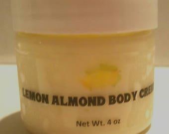 Lemon Almond Body Cream-Natural Organic Handmade Body Cream-Lemon Almond Body Butter-Lemon Almond Body Polish-Organic Body Lotion/Cream