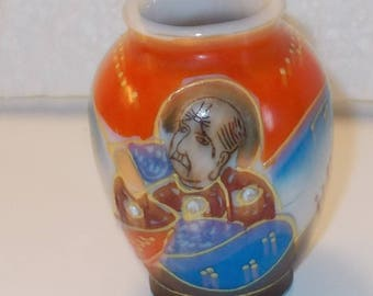"Mini Vase Occupied Japan, Hand Painted Emperor 2 3/4"" high"