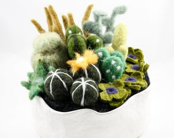 Felted Cactus Garden - White Pot (Extra Large)