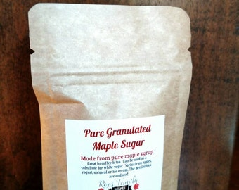 Granulated maple sugar, pure maple sugar, coffee Sweetener, tea Sweetener, natural sweetener, natural sugar, sugar substitute