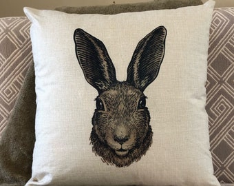 Bunny pillow, easter pillow, spring pillow, Rabbitt pillow, easter bunny pillow, pillow, linen pillow