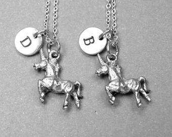 Unicorn necklace, best friend necklace, unicorn charm, unicorn jewelry, initial necklace, personalized necklace, best friend gift, monogram