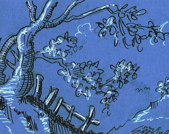 Original ACEO  pen and ink drawing on blue paper with white highlights