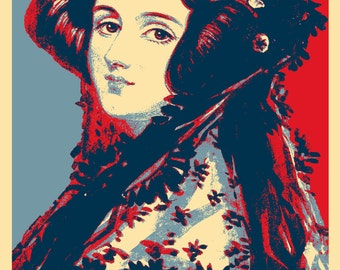 Ada Lovelace Original Art Print - 12x8 Inch Photo Poster Gift - Barack Obama Hope Parody