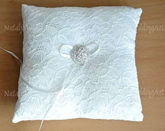 Ring Cushion lace Ring Bearer Cushion Ring pillow IVORY or WHITE Made from French lace