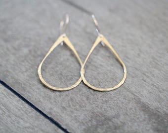 Teardrop Hoop Earrings in Gold , Rose Gold , Sterling Silver , Hammered or Smooth , Everyday Boho Hoops