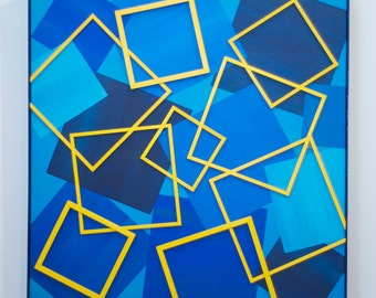Not Just Blue Squares - original contemporary mixed media painting of wood and acrylic on canvas