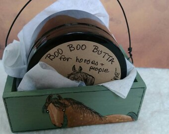 Handmade boo boo butta ,for your self and your horse,in a Handpainted box