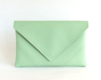 Mint Clutch Purse Vegan Bag Bridesmaid Clutch Bag Gift For Her Vegan Leather Clutch Evening Bag Leather Purse Envelope Clutch Vegan Handbag
