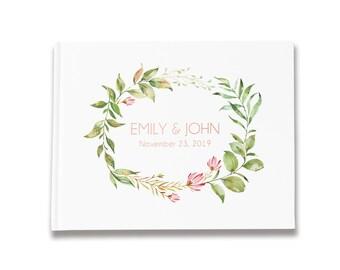 Greenery Wedding Guest Book Rose Gold Foil, Personalized Wedding Guestbook Ideas, Wedding Sign In Book, GB 189