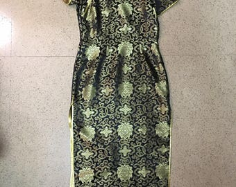Vintage 90s Chinese Evening Dress - Dramatic Slit