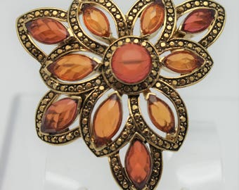 Vintage Monet Brooch Amber and Topaz Colors