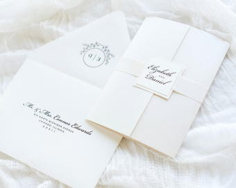 Romantic Cream, Opal / Champagne, Ivory Wedding Invitation Suite - The Heirloom Suite - Elegant, Formal, and Glamorous Wedding Invite