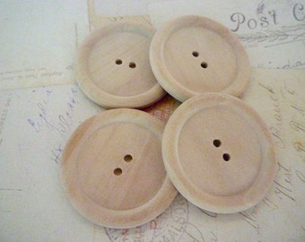 Wooden Buttons, JUMBO Size Round Wood Buttons, PACK OF 20 - 45mm