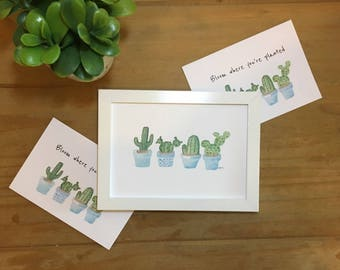 Watercolor cactus print, cacti painting, FREE UK delivery, nature gift