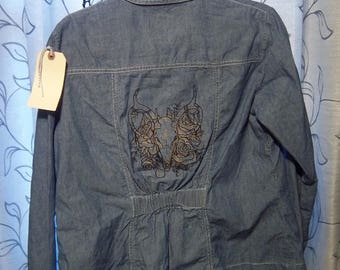 Skull Embroidered Pendleton Chambray Denim Jacket