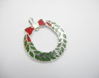 Sterling Wreath Charm, Sterling Enamel Charm, Silver Enamel Charm, Vintage Sterling Silver Enamel Christmas Wreath Traditional Charm #1706