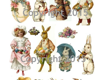 Printable Victorian Easter Collage Sheet.  Instant Digital Download, Easter Eggs, Easter Rabbits, Bunnies, Scrapbook Embellishments