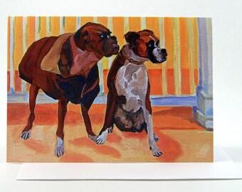 Pet Portrait Boxer Dogs Fine Art Greeting Card