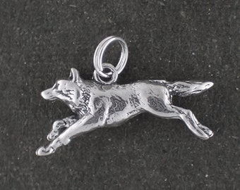 Sterling Silver Wolf Charm Pendant 3D Running Animal