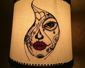 Embroidered Skull accent Lampshade