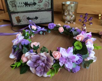 Purple And Pink Flower Crown, Handmade Hair Wreath, Girl Women Hair Crown, Summer Hair Accessory, Floral Wreath, Gift For Her, Wedding Crown