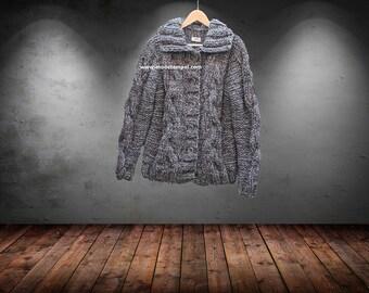 MEN'S Patterned Andean Alpaca Sweater. Black, White, Grey Alpaca Zippered Cardigan for Men. Reversible Collar Men's Soft Alpaca Cardigan
