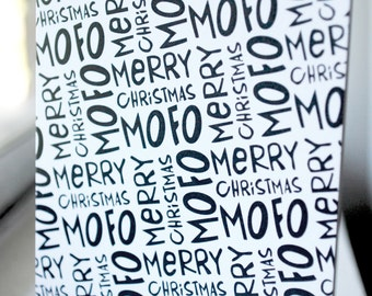 Merry Xmas Mofo pattern / Peety Notecard