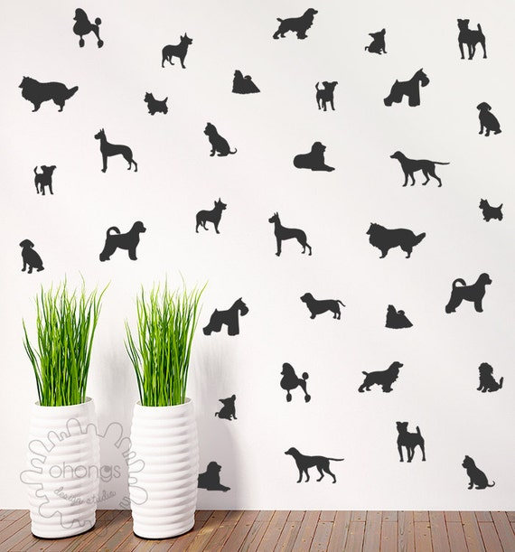 Dog Wall Decal / Doggie Decal / 36 Dogs Pattern Wall Decal /