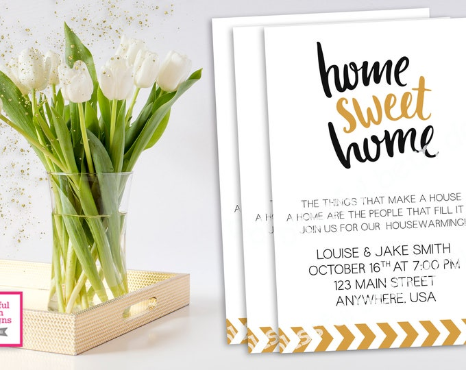 HOUSEWARMING INVITATION, Black and Gold HouseWarming, Housewarming Invitation, Home Sweet Home, House Warming, Modern House Warming Invite