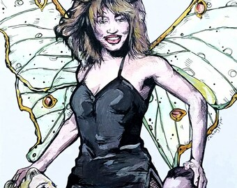 Tina Turner Fairy original giclee print - antlers and Lunar Month forest queen